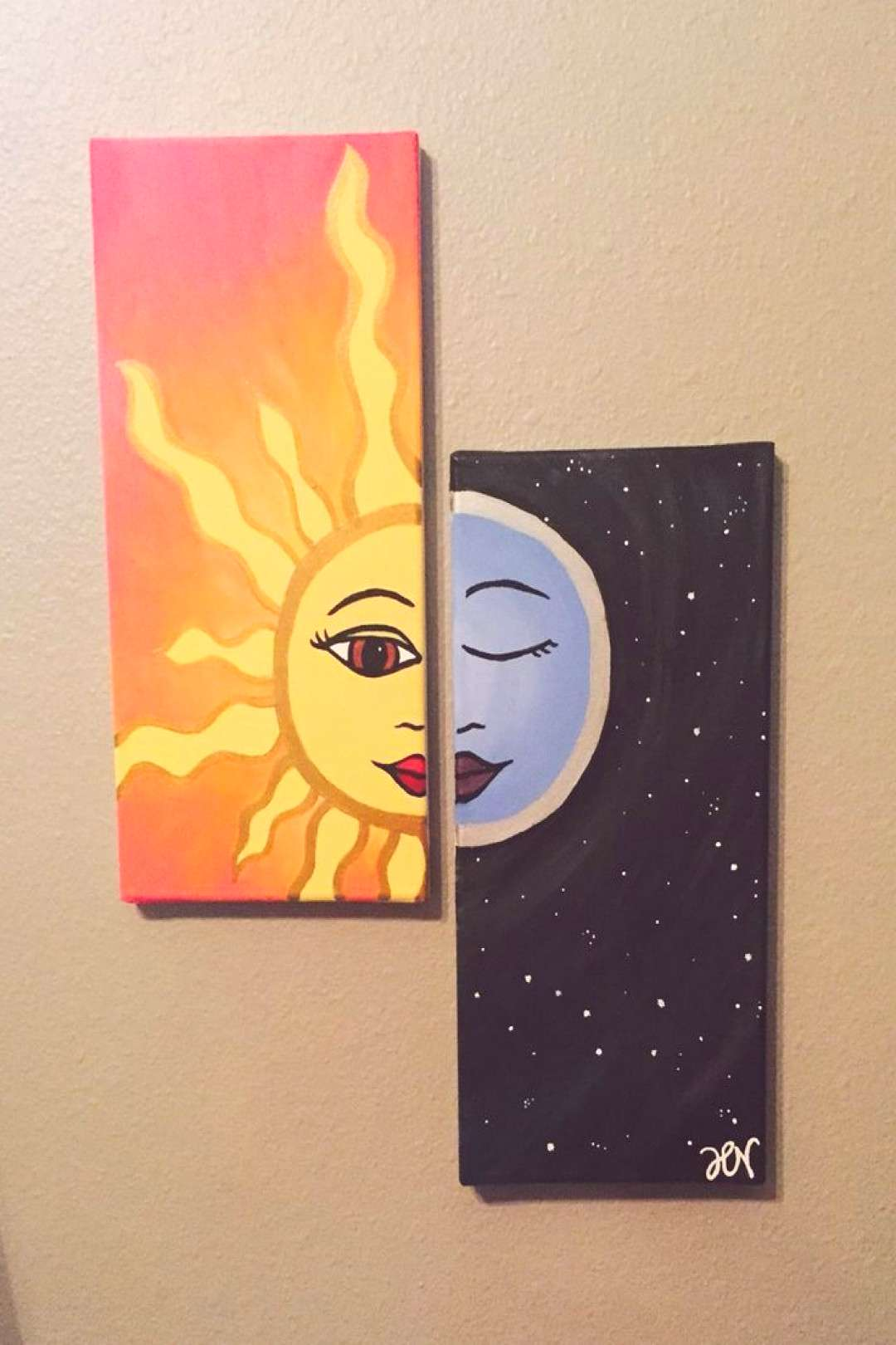 We Live By The Sun Feel Moon Easy Canvas Painting Ideas